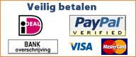 U kunt veilig betalen met iDEAL, Bankoverschrijving of Creditcard